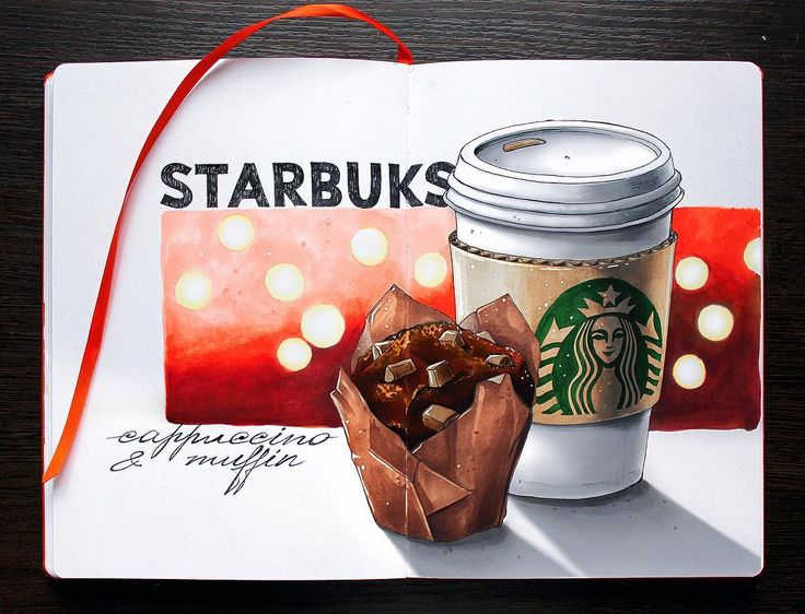 Маффинчик с кофеёчком- ути вкусненько. ☕️  2/8- American fast food.  #lk_sketchflashmob, #copic, #copicart, #copicmarker, #leuchtturm1917, #sketch, #illustration, #starbucks, #coffee, #muffin, #sketchzone