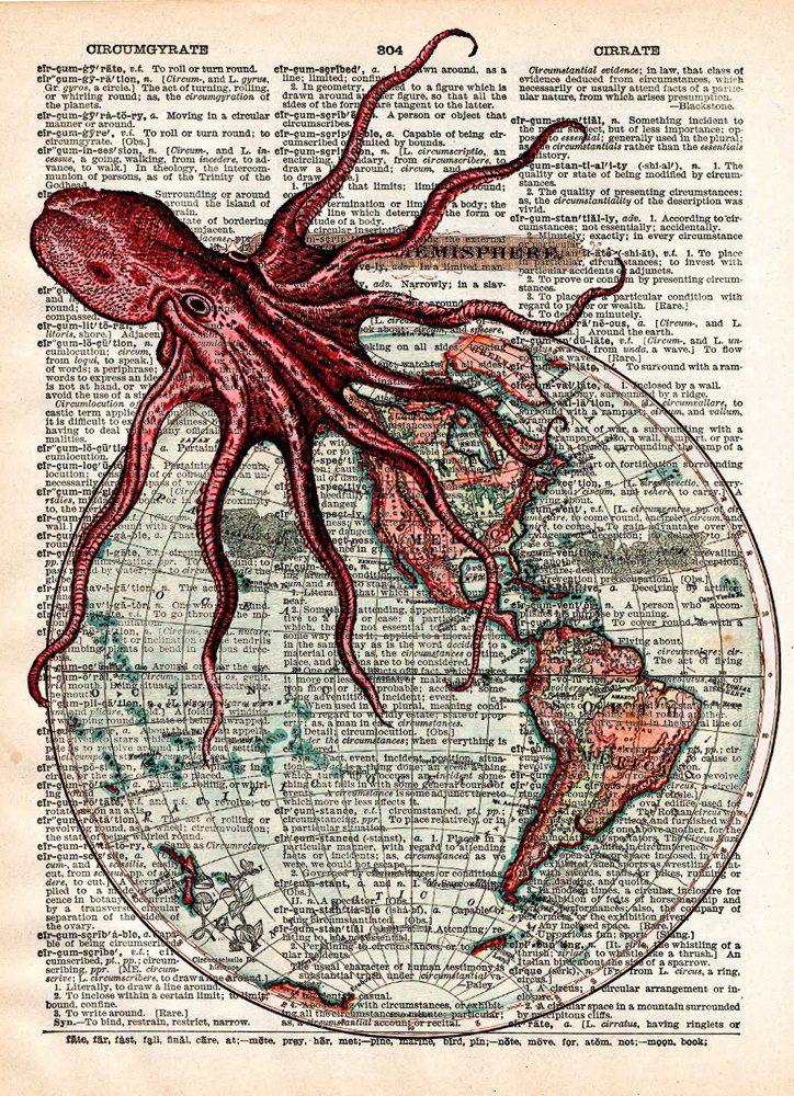 Octopus art, world map, victorian steampunk, lovecraft octopus, dictionary page art print