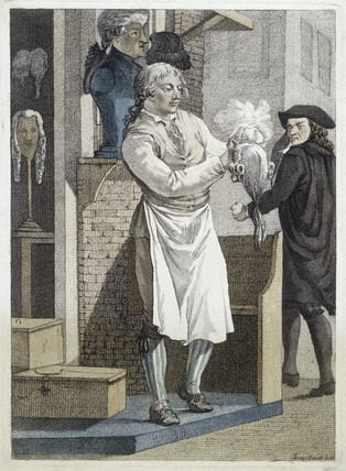 A wig shop. A barber stands outside his shop, powdering a wig.   Artist/Photographer/Maker Jeremias Snoek   Date 1775 AD - 1775 AD