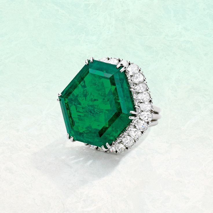 Stotesbury Emerald, platinum, emerald and diamond ring, Harry Winston
