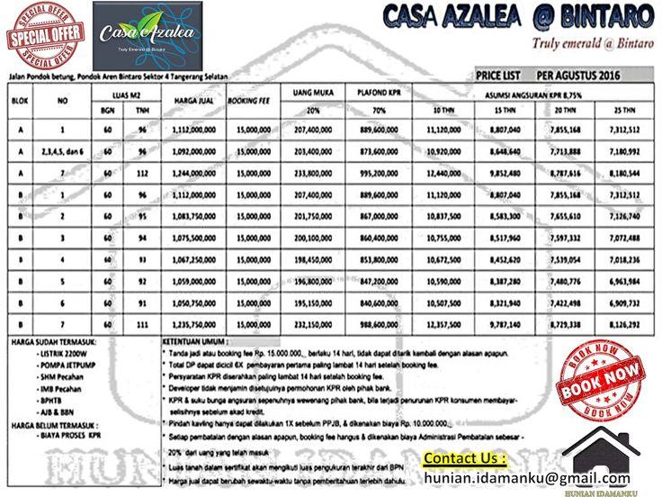 PriceList Casa Azalea Residence Bintaro