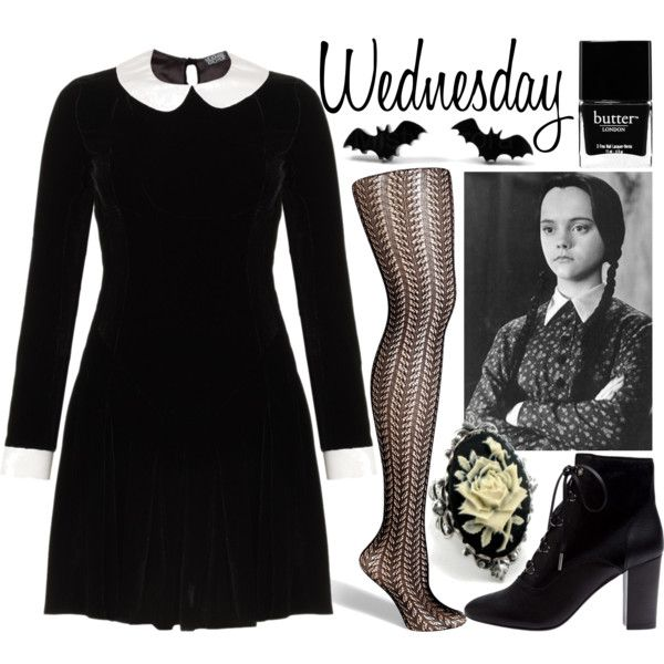 wednesday addams by sarah horan777 on polyvore featuring meadham kirchhoff fogal lanvin halloween knittingdiy halloweenhalloween makeupcostumes - Halloween Costumes Wednesday Addams