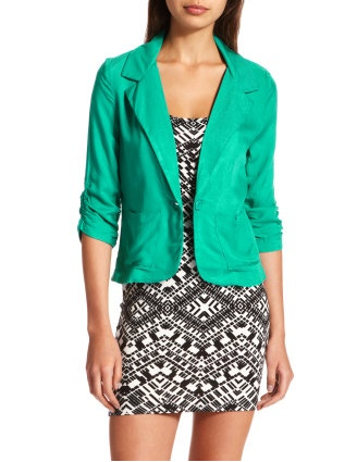 teal blazer with black and white dress: Light Pink Blazers, Black And White, Green Blazers, Outfit, Bright Green, Teal Blazers, White Dresses, The Dresses, Tribal Patterns