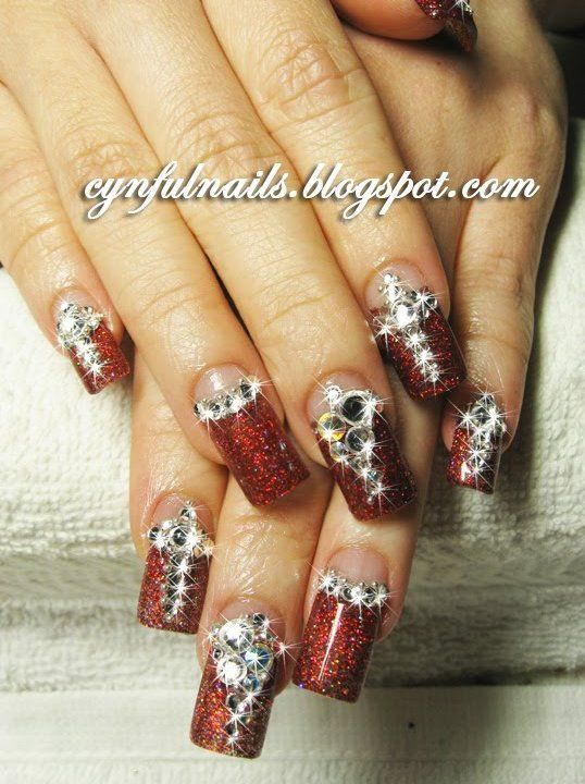 51 best Rhinestone nails only! images on Pinterest | Nail scissors ...