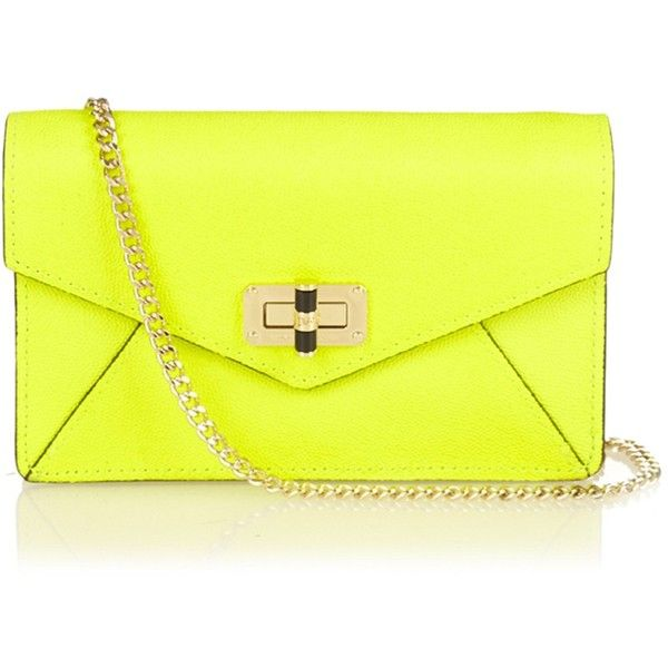 Diane Von Furstenberg 440 Gallery Bitsy leather cross-body bag (141710 IQD) ❤ liked on Polyvore featuring bags, handbags, shoulder bags, yellow, crossbody handbags, over the shoulder bag, leather purse, yellow leather purse en leather shoulder handbags