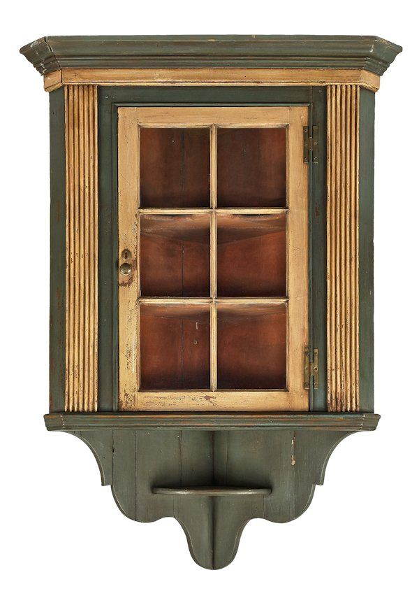 Sold $ 600 Pennsylvania painted pine hanging corner cupboard, late 18th c., 60 1/2'' h., 37'' w.