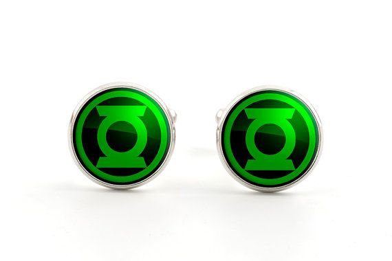 Green Lantern Cufflinks - Mens Superhero Cufflinks - Geek Gifts for Him - Comic Book Jewelry on Etsy, $19.75