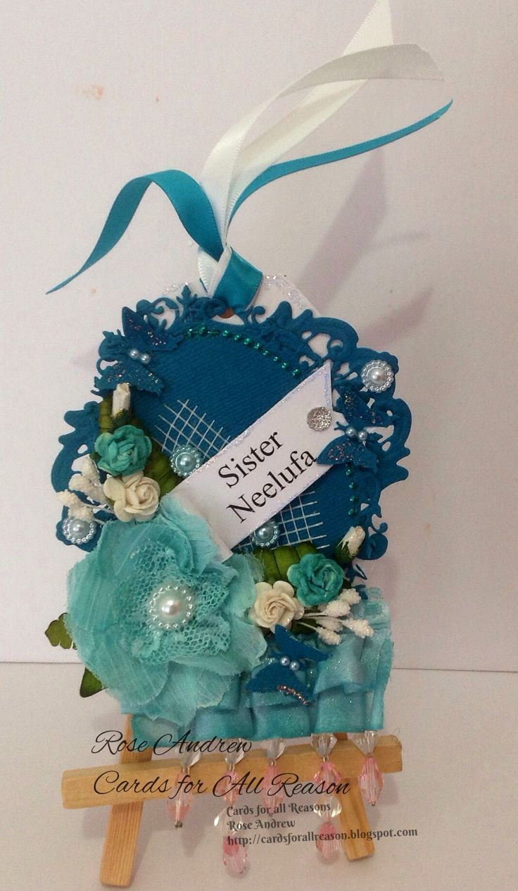 Beautiful Teal handmade Tag with fabric flower and paper roses & pearls