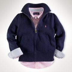 Cotton Mockneck Zip Cardigan - Girls 2-6X Sweaters - RalphLauren.com