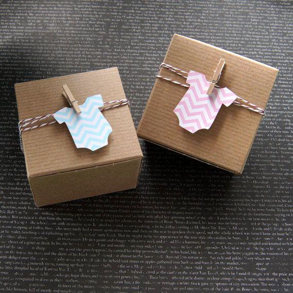 12 Chevron Baby Bodysuit Baby Shower Favor Box Kit, 3x3x2 Kraft Pinstripe Gift Box