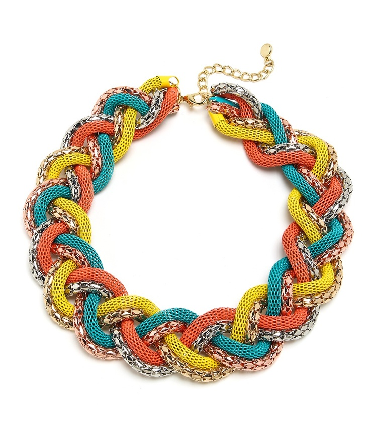 Braided Beauty Statement Necklace - Coral, Yellow, and Turquoise: Turquoise Necklaces, Turquoi Necklaces, Clothesss Accessories D, Statement Necklaces, Braids Beautiful, Colors Theme, Beautiful Statement, Trendy Accessories, Braids Necklaces