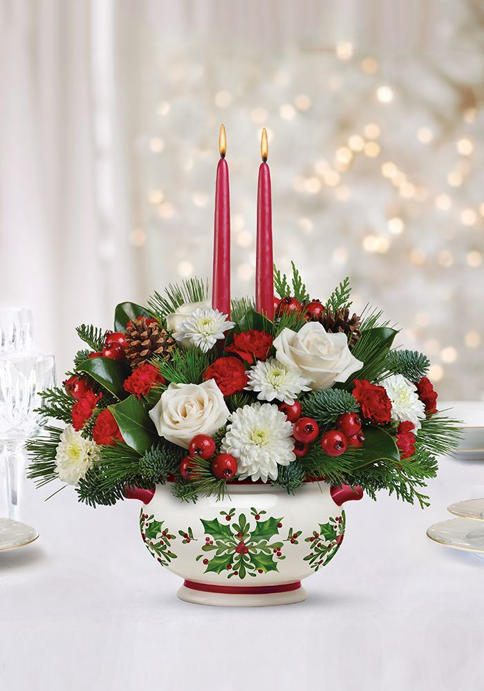 Teleflora's Holly Days Centerpiece - beautiful Christmas arrangement with a serving dish for holiday entertaining