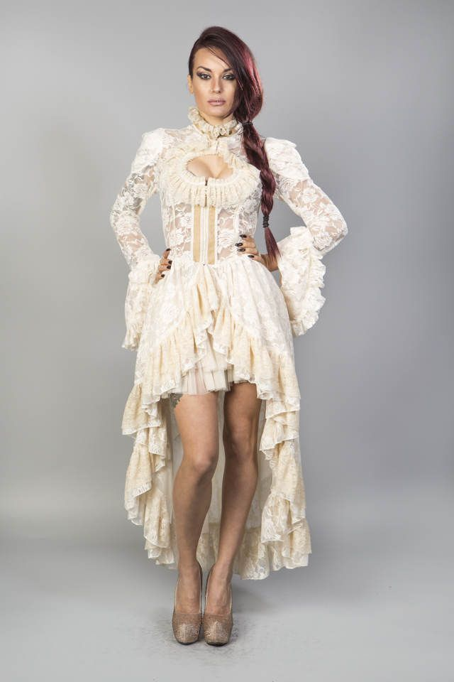 Valentina victorian gothic jacket in cream lace