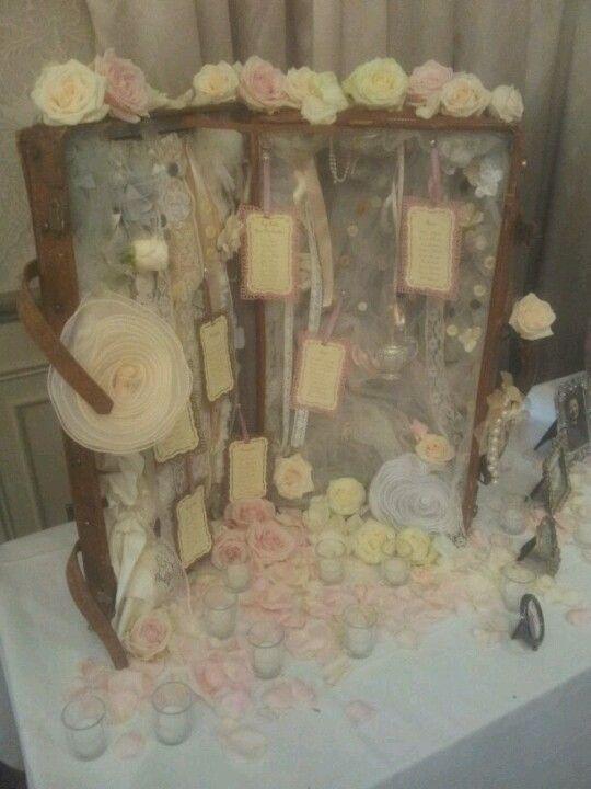 Vintage suitcase wedding table plan www.facebook.com/thatspecialdaystationery