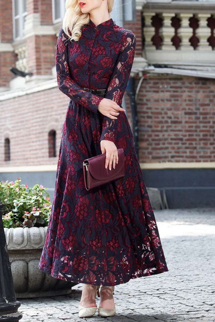 Differentes Wine Red Single Breasted Lace Maxi Dress | Maxi Dresses at DEZZAL