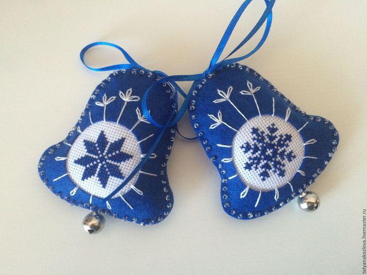 Купить Елочная игрушка из фетра Синий колокольчик - елочные игрушки, елочные шары
