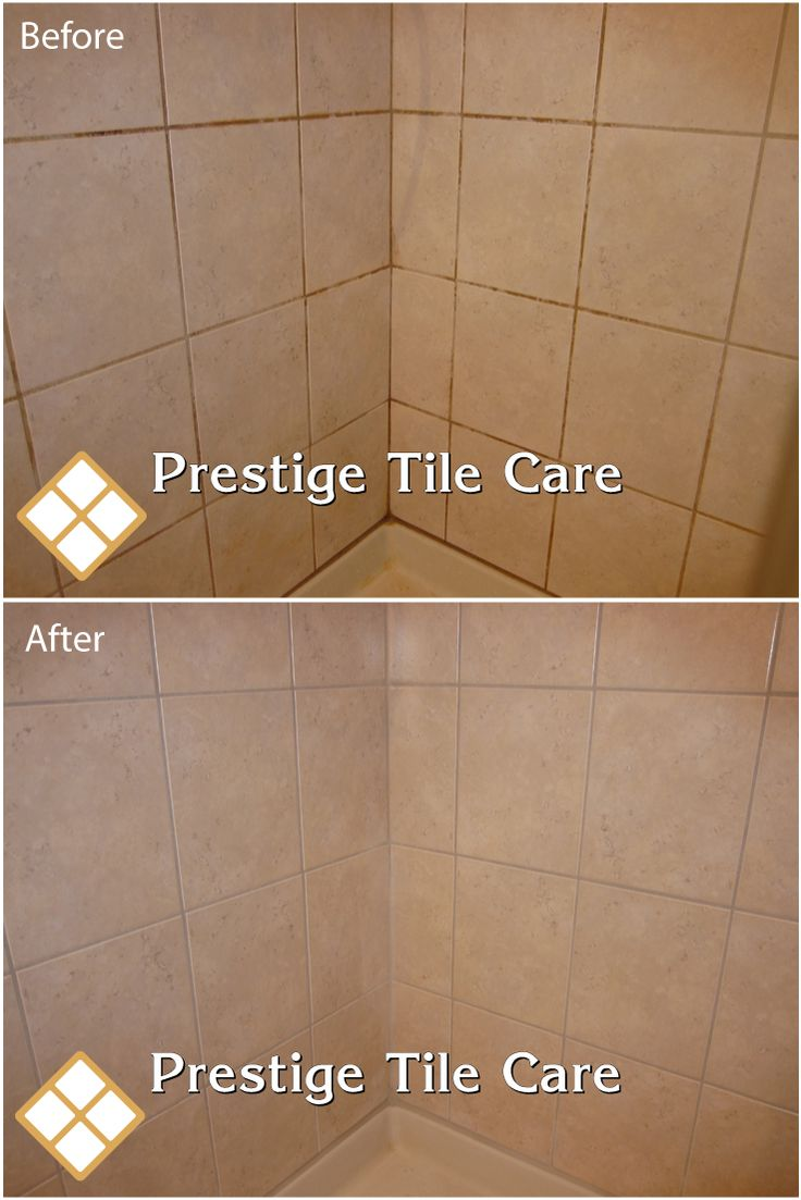 Cleaning And Regrouting The Base Of Tan Shower Tiles