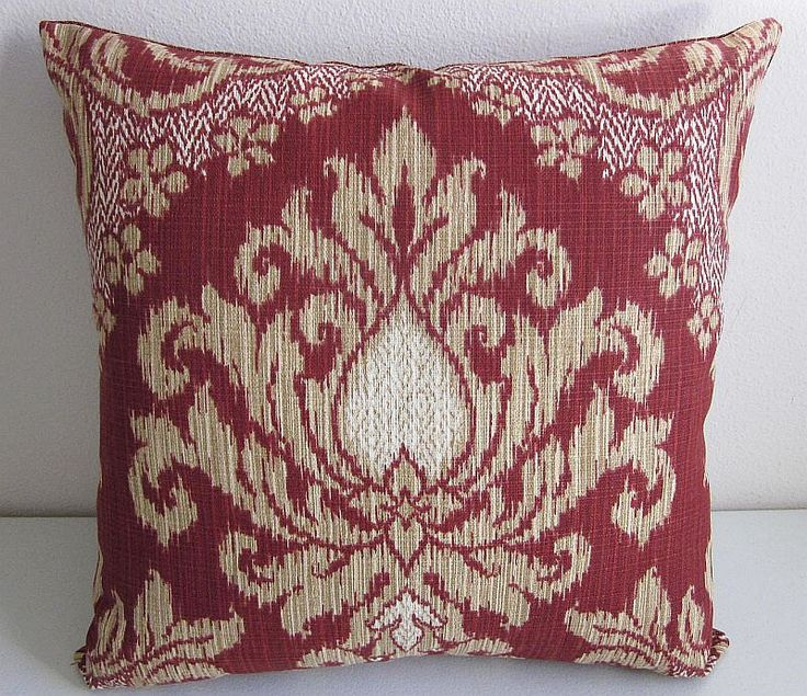 Waverly Bedazzle Indoor Outdoor Pillow Cover Sun And Shade Damask Pillow  Ikat Woven Pillow Cover Brick