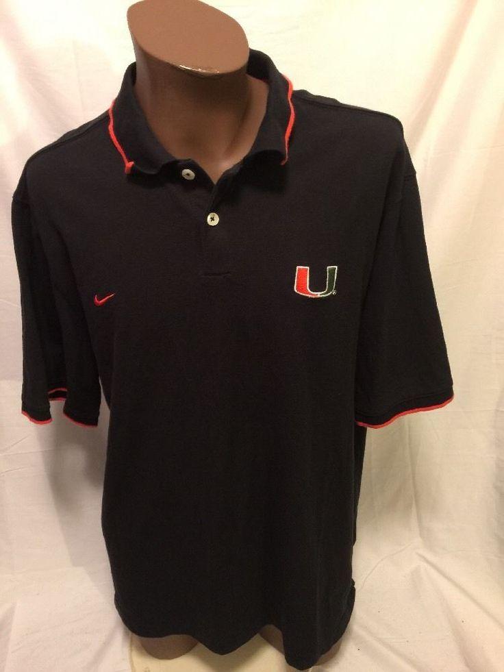 UNIVERSITY OF MIAMI Nike UM Hurricanes CANES Football Polo Shirt Adult XXL Fla  | eBay