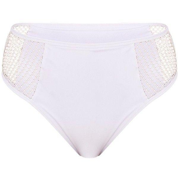 Billie White Mesh Side High Waisted Bikini Bottoms ($12) ❤ liked on Polyvore featuring swimwear, bikinis, bikini bottoms, high rise bikini bottoms, highwaisted bikini bottoms, swim bikini bottoms, high waisted swim wear and white high waisted bikini