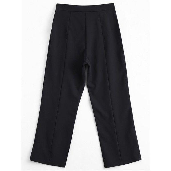 Capri Beaded Slit Bootcut Pants (£16) ❤ liked on Polyvore featuring pants, capris, slit pants, capri pants, capri trousers, bootcut trousers and boot cut pants