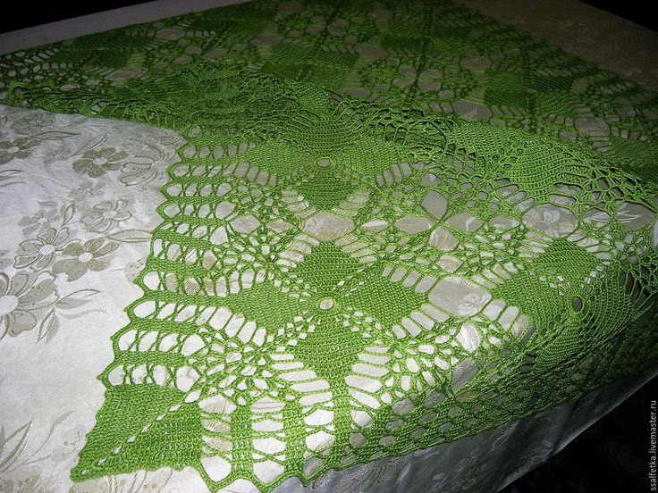 Купить Скатерть Весенняя зелень - скатерть ручной работы, скатерть крючком, весенняя зелень