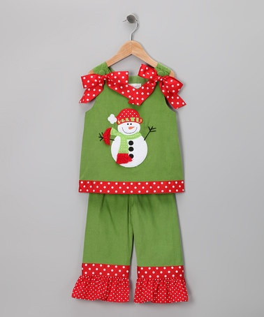 Take a look at this Green Snowman Ribbon Top & Pants - Infant, Toddler & Girls by Secret Wishes on #zulily today!