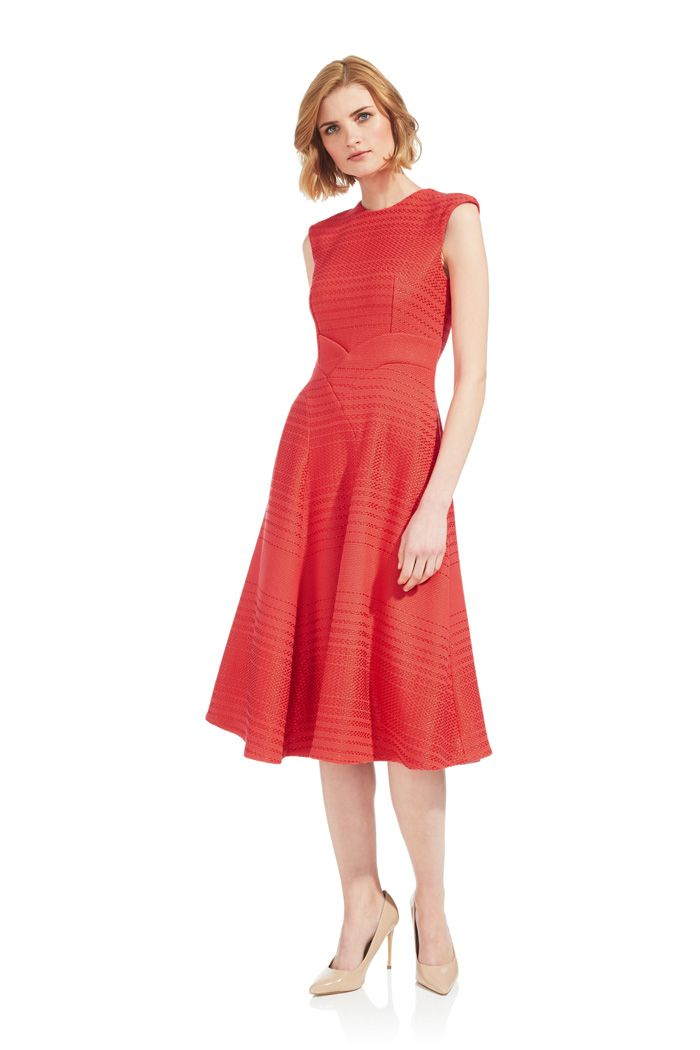Chatsworth Dress Coral Tweed - The Fold | thefoldlondon.com