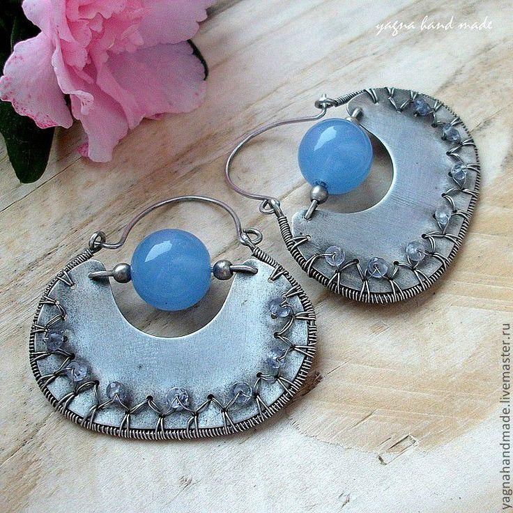 Купить Серебряные серьги - голубой халцедон и ёлит - серебряные серьги, синий, cеребpo ручной работы