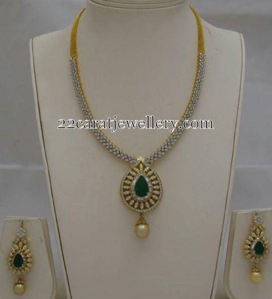 Jewellery Designs: Simple Diamond Set by Totaram Jewels
