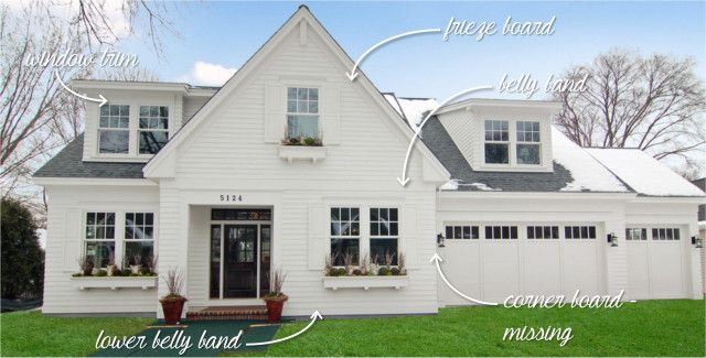 Here S An Overview Of What Each Of These Trim Pieces Are Although This Home Doesn T Have Corner Boards House Paint Exterior House Trim Farmhouse Exterior