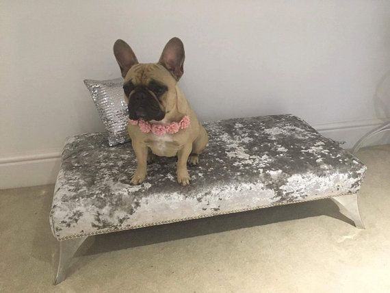 This listing is for a completely unique Handmade Luxury Silver Crushed Velvet Footstool (or it could be a luxury dog bed!) It is made to order in any material, size or design. I used a luxurious silver crushed velvet on this one, but you can have it cover