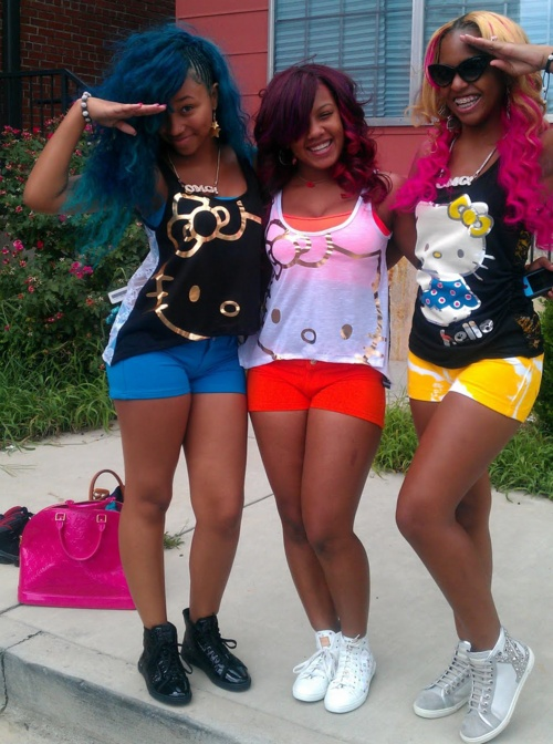 Omg girlz hello kitty tees and Louie V sneakers swagg