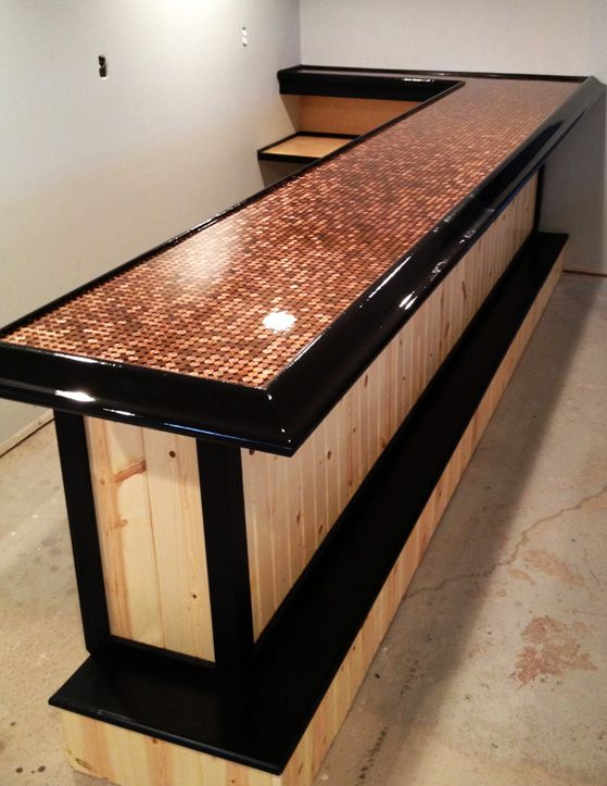 Best 25 penny countertop ideas on pinterest penny table pennies floor and bar top tables - Bar tops ideas ...