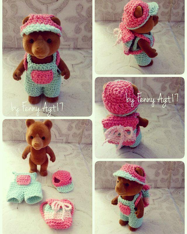 #sylvanianfamilies #crochet #handmade #forest #papa #cute  Cute crocheted outfit for sylvanian families forest bear size papa