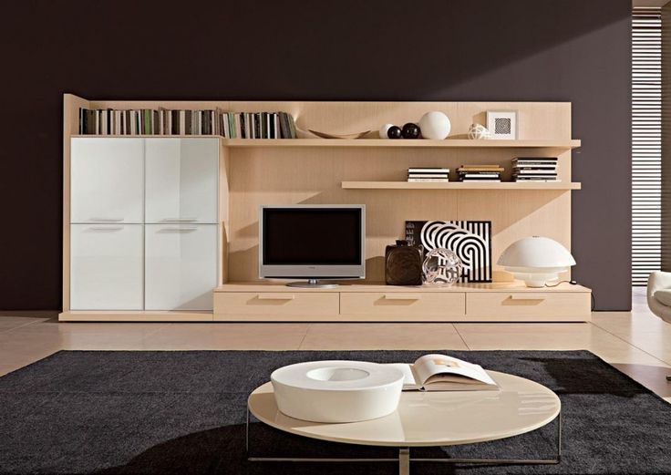 Interior Reasons Why Japanese Interior Design is Popular: Modern Living Room Inspiring With Cream And Grey Colored Japanese Style Wooden Cabinet Television And Also Wooden Laminated Flooring Also Grey Synthetic Rug And Round Coffee Table And Flat Screen Tv