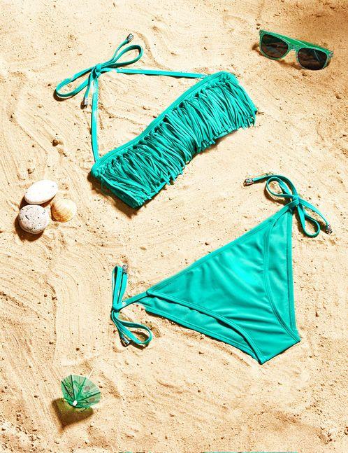 maillot de bain à franges turquoise