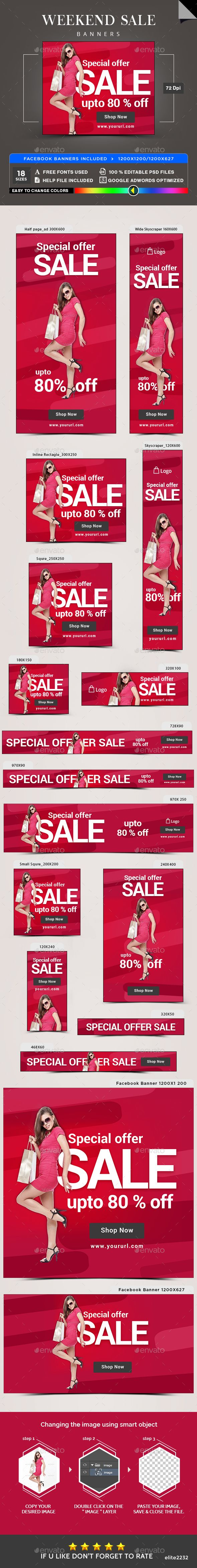 Weekend Sale Banners - Banners & Ads Web Elements Download here : https://graphicriver.net/item/weekend-sale-banners/19873329?s_rank=88&ref=Al-fatih