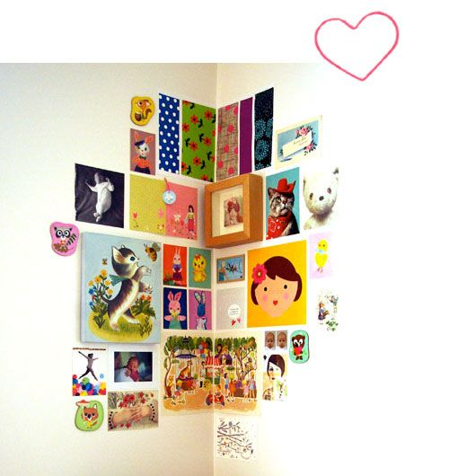 wall decoration: images clustered around a corner