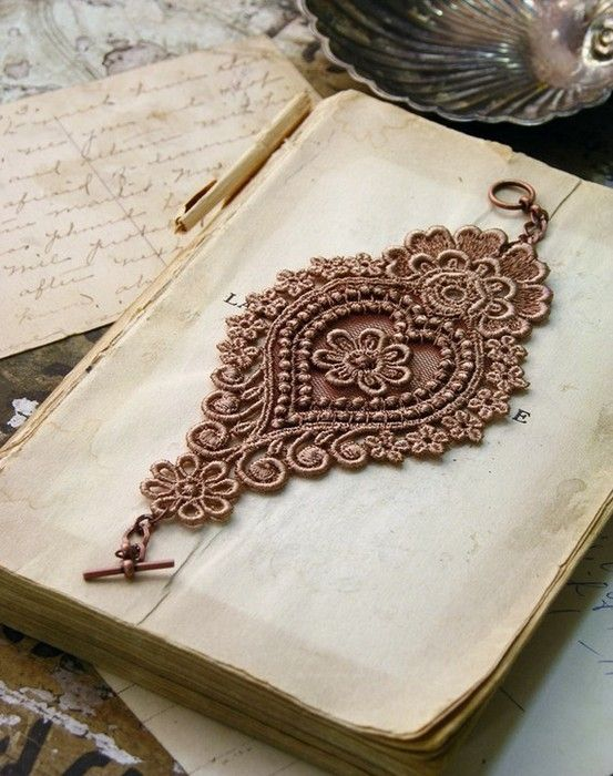 ❥ lace bracelet  could use fabric stiffener if needed