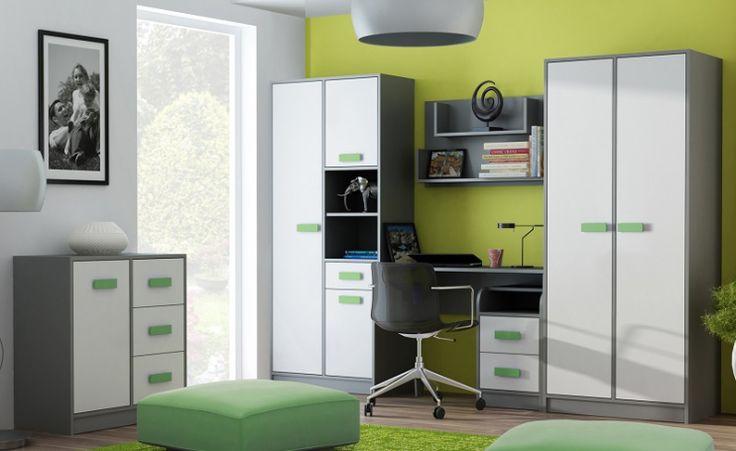 Pokój młodzieżowy ABI, antracyt / u. zielony  #meble #dom #wnetrza #wystrój #mieszkanie