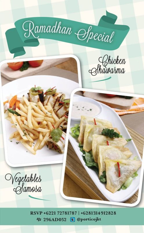Try this one of the special Ramadhan menu from Portico Terrace and Bistro, Chicken Shawarma & Vegetable Samosa! Only available through Ramadhan month. Try it!