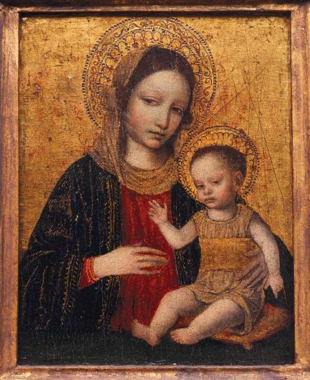 Georgia Museum of Art : Kress Foundation : From the Collection : Madonna and Child Ambrogio Borgognone (Milanese, ca. 1460–1523)  Madonna and Child, 1490s  Tempera on wood 11 1/4 x 8 3/4 inches  Georgia Museum of Art, University of Georgia; The Samuel H. Kress Study Collection  GMOA 1962.1896
