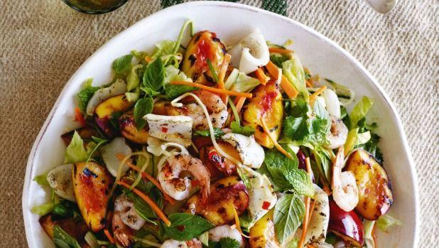 Recipe: Barbecued nectarine, prawn and squid salad | Stuff.co.nz