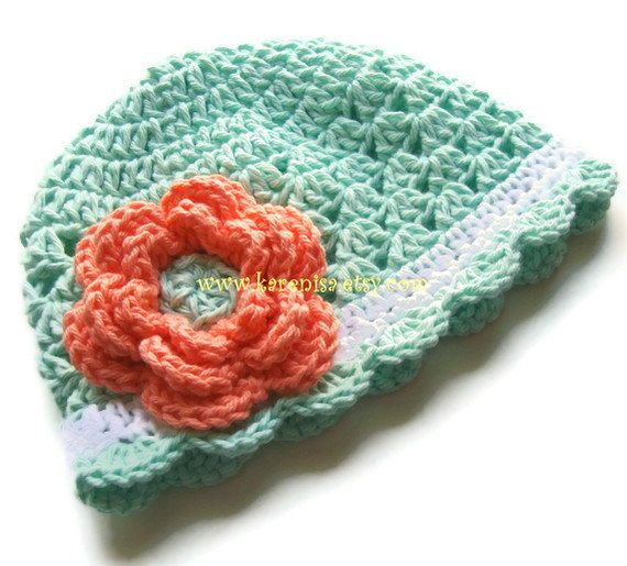 Crochet Baby Hat, Baby Girl Hat, Crochet Toddler Hat,  Cotton Crochet Scalloped Beanie Hat, Mint Green, White and Coral, MADE TO ORDER