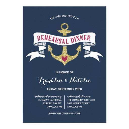Anchor Glitter-Look Nautical Rehearsal Dinner