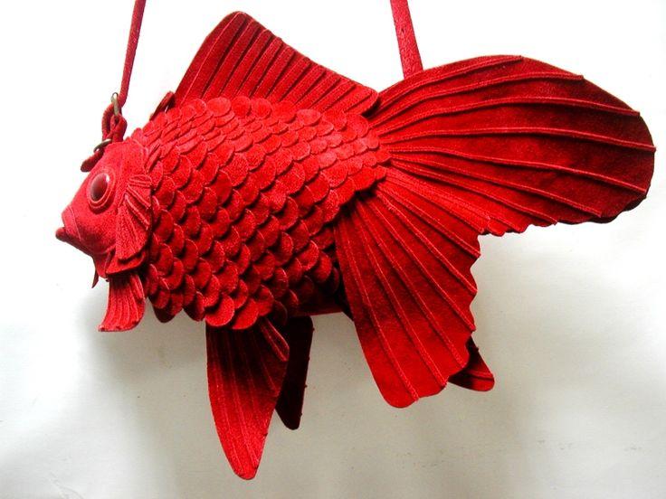 Velourleder Goldfisch Tasche (groß) | ATELIERIWAKIRI