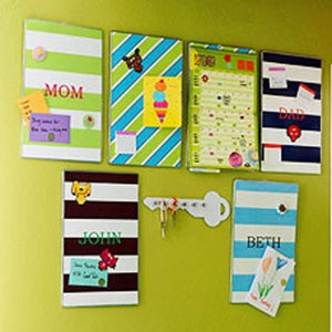 Post It - In lieu of one giant cluttered bulletin board, each family member gets a personalized place for tacking up notes, tickets, messages—whatever is needed to stay on top of things. Add a calendar to track family activities and another board for group invites, photos and memos. Label everyone's keys and hang on a pegboard in the same area.