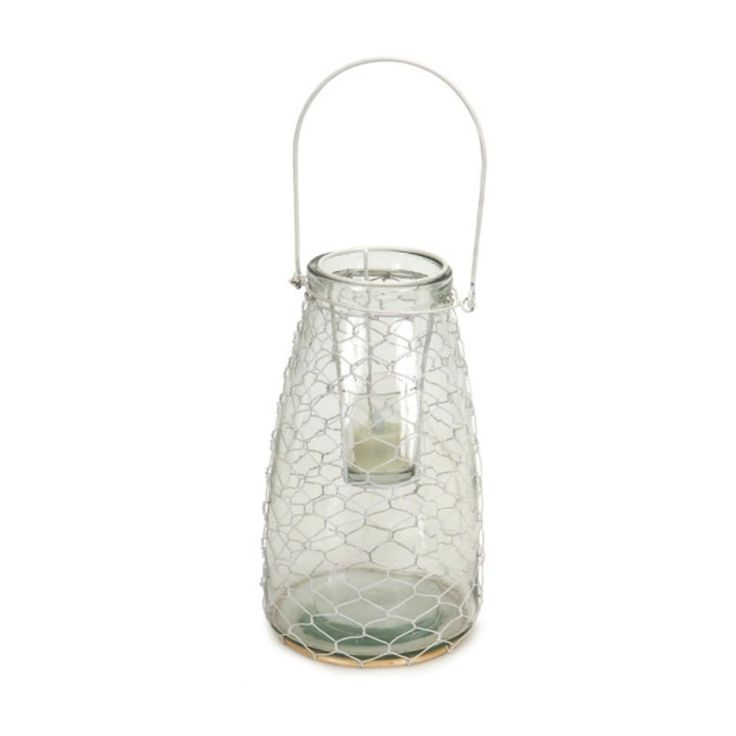 Set of 4 Clear Hanging Glass Tea Light Holders with White Wire Netting 10.5