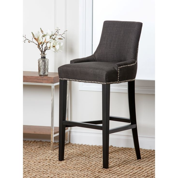 Abbyson Living Newport Grey Fabric Nailhead Trim Bar Stool | Overstock.com Shopping - The  sc 1 st  Pinterest & 21 best Barstools images on Pinterest | Kitchen ideas Kitchen and ... islam-shia.org